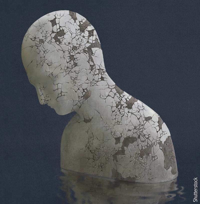 Stone statue representing depression